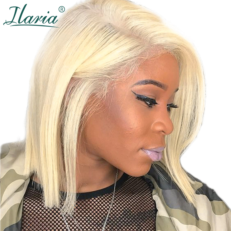 HTB1NbWVXE rK1Rjy0Fcq6zEvVXab Blonde Lace Front Human Hair Wigs For Black Women Pre Plucked Short Bob Wig Dark Roots 1B 613 Human Wig With Baby Hair Ilaria