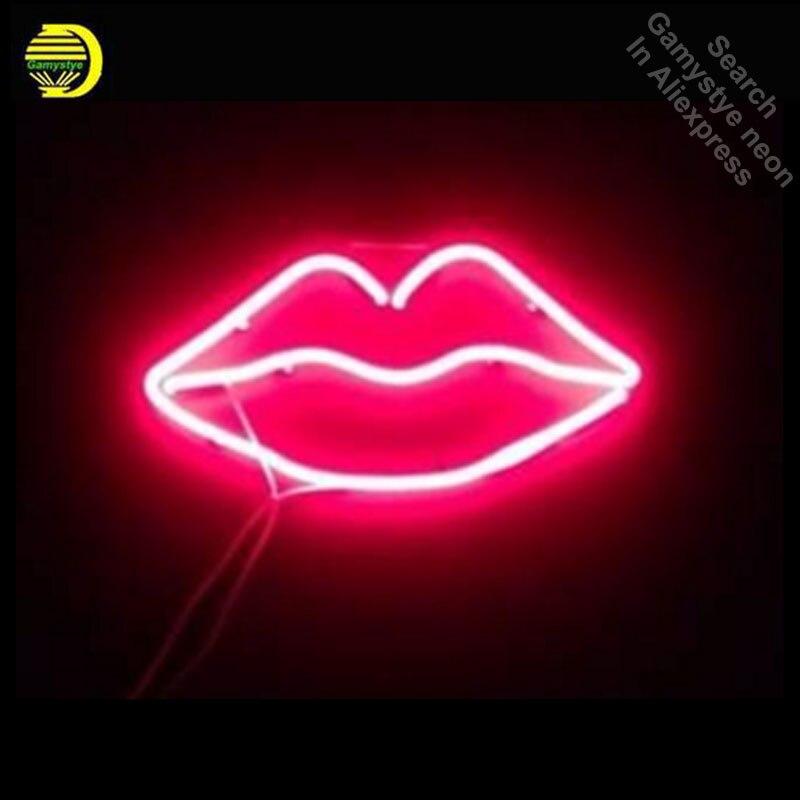 Винтажная неоновая вывеска для губ, стеклянная трубка, неоновый светильник s, для отдыха, комнаты, дома, окон, знаковый знак, любовь, неоновый