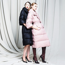 New Arrival 2016 Winter Jacket Women down jackets slim waist large lapel long design women's Goose down coat Outerwear Parka