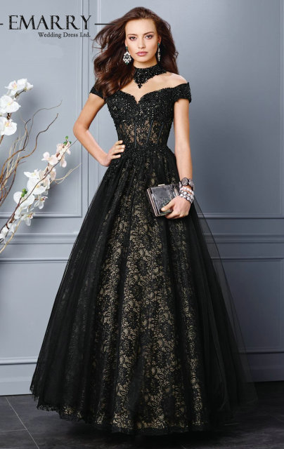 A 136 On Sale Ball Gown Black Lace Evening Gowns 2015