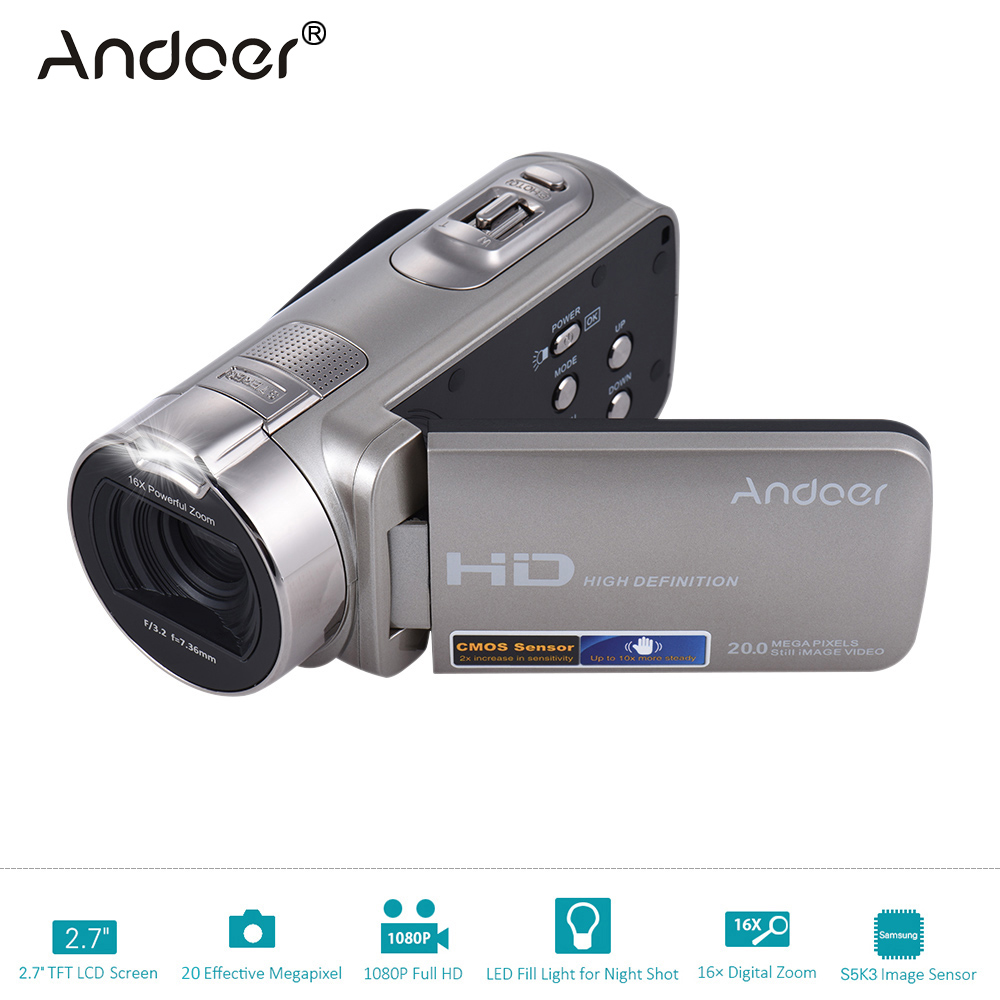 """Prix pour Andoer HDV-312P 1080 P Full HD Caméra Vidéo Numérique À Domicile-utiliser DV avec 2.7 """"rotation LCD Écran Max. 20 MP 16x Portable Caméscope"""
