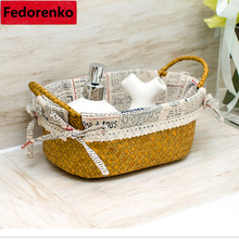 Storage box straw plaited article storage baskets organized crafts high quality woven for sundries household