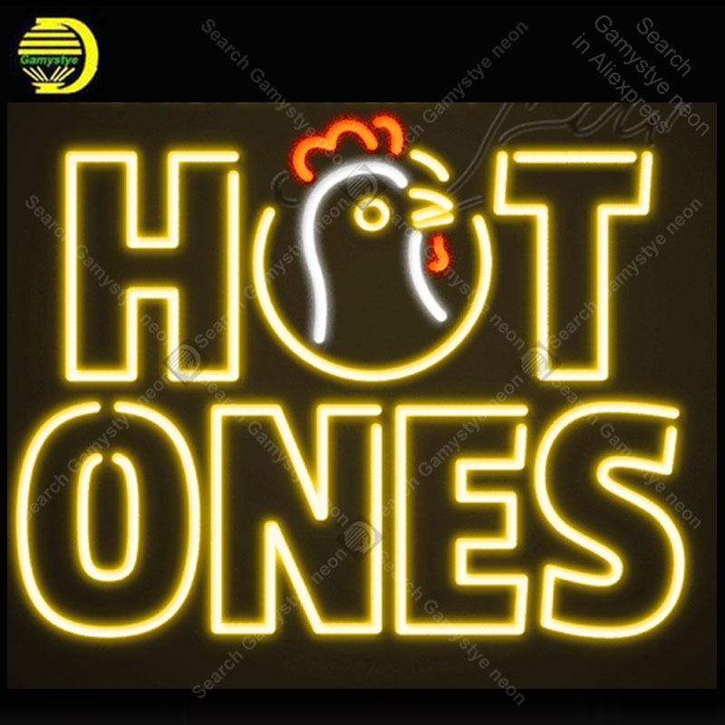 Hot ones Neon Sign Roast Chicken Neon Lamp Glass Tube Neon Bulbs Sign Recreation room Club Handcraft Indoor Sign Custom 24x20