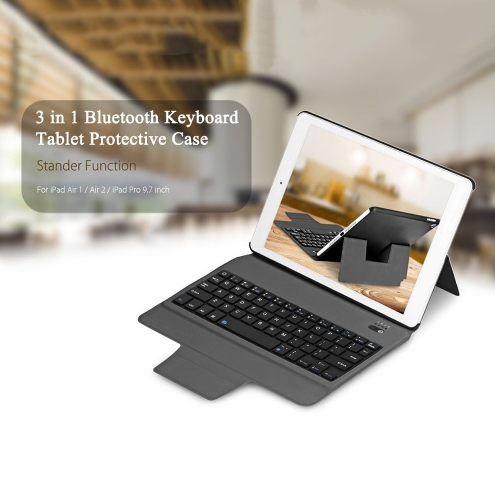 Ultra Thin Wireless Bluetooth Keyboard Case Compact Size Full Body Protective Keyboard Case Suitable for iPad Air 1/2/Pro 9.7 ...