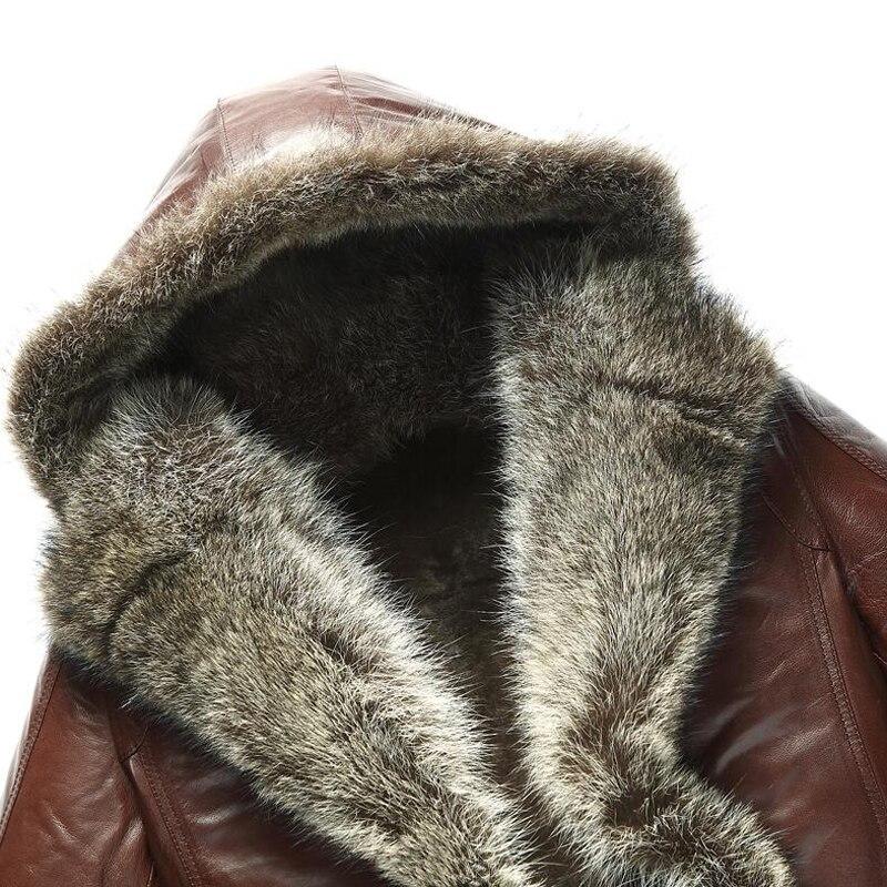 US $675.75 15% di SCONTO Cappotto Di Pelliccia Shearling Cappotti da uomo di Lusso Procione collo di Pelliccia Con Cappuccio Parka Uomo Slim Pelle di