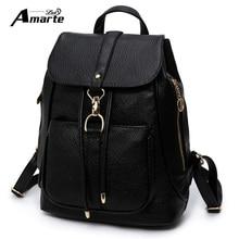 Amarte Brand Women Backpacks Mochilas Mujer 2016 Pu Leather Backpack Women Fashion Solid Bagpack School Bags For Teenage Girls