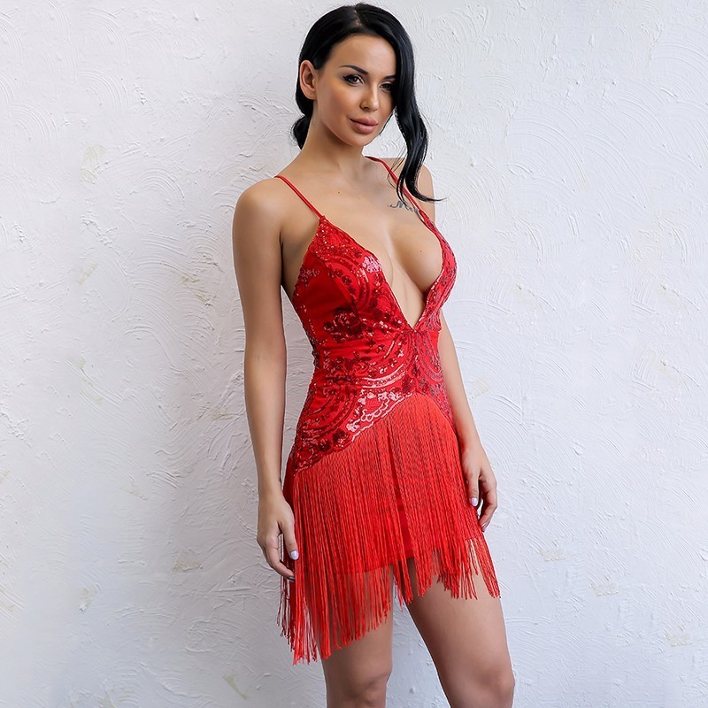 Yisaang Sexy V Neck Red Tassel Sequin Mini Dress Women Elegant Tassels  Bodycon Night Party Dresses Summer Blackless Vestidos-in Dresses from  Women s ... 814035986fdb