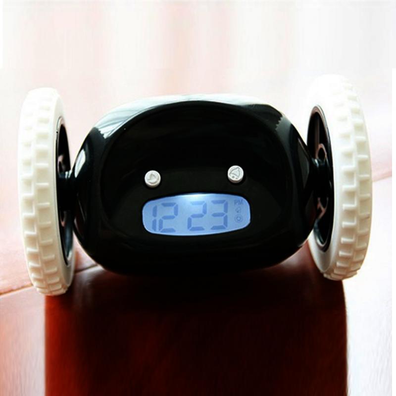 Room Runaway Clock Moving Wheels Clock LCD Screen Display Running Alarm Clock Home Bedroom Living