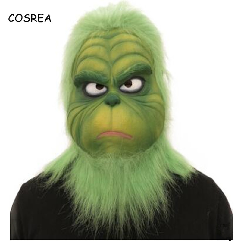COSREA New Sale Grinch Mask Men Women Green Latex Party Cosplay Mask with Further Helmet Headgear Halloween Christmas Accessory