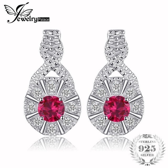 JewelryPalace Trendy 0.43ct Round Created Ruby Stud Earrings 925 Sterling Silver