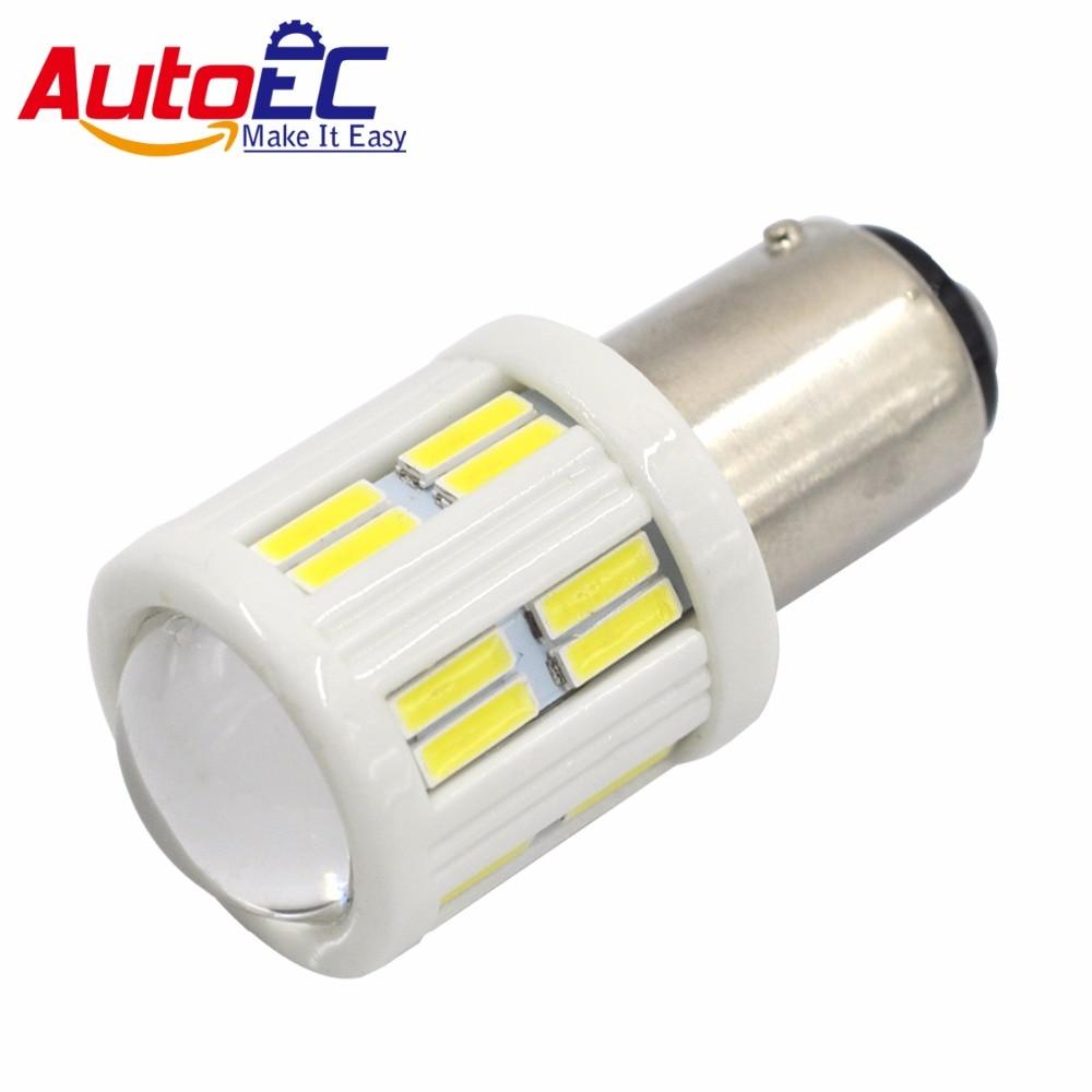 AutoEC 2X T20 S25 7020 28 SMD 7440 7443 1156 1157 3157 3156 Keramické automatické žárovky s objektivem DC12V Brzdové světlo zpětného brzdového světla # LF80