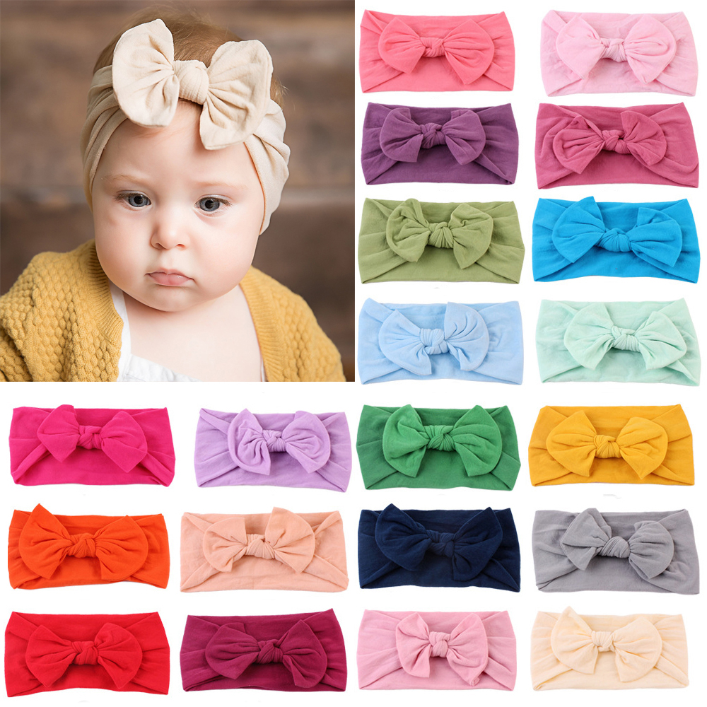 Baby Headbands Toddler Infant Hair Accessories Clothes Band Turban Solid Headwear Hair Band Bow Girl Accessories