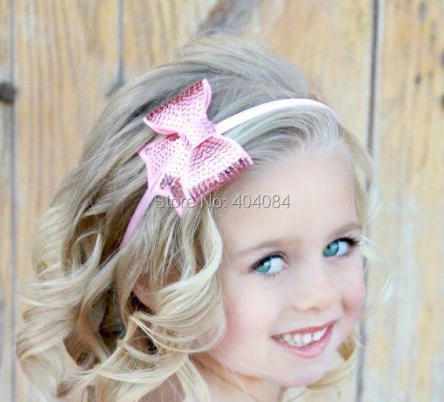New Sequin Little Cheer Hair Bow Hairbands Girl Newborn
