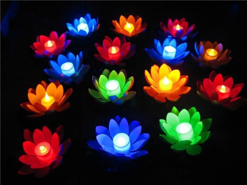 Livraison Gratuite Artificielle Led Flottant Fleur De Lotus Bougie