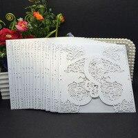 40 stks Delicate Iriserende Parel Papier Uitnodiging Kaart Hart Patroon Hol Gesneden Ambachten Kaart voor Bruiloft
