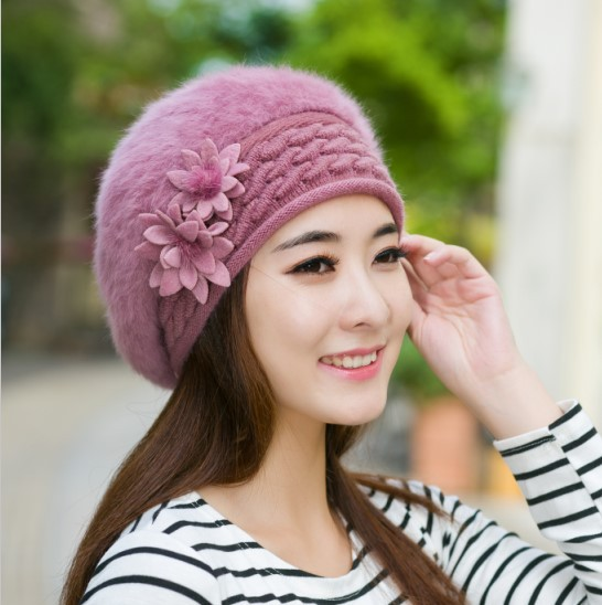 2016 Autumn Winter New Warm Hat Rabbit Hair Beret Hat Cap for Women Skullies Beanies Warm Cap Female Floral Bonnet Hat princess hat skullies new winter warm hat wool leather hat rabbit hair hat fashion cap fpc018