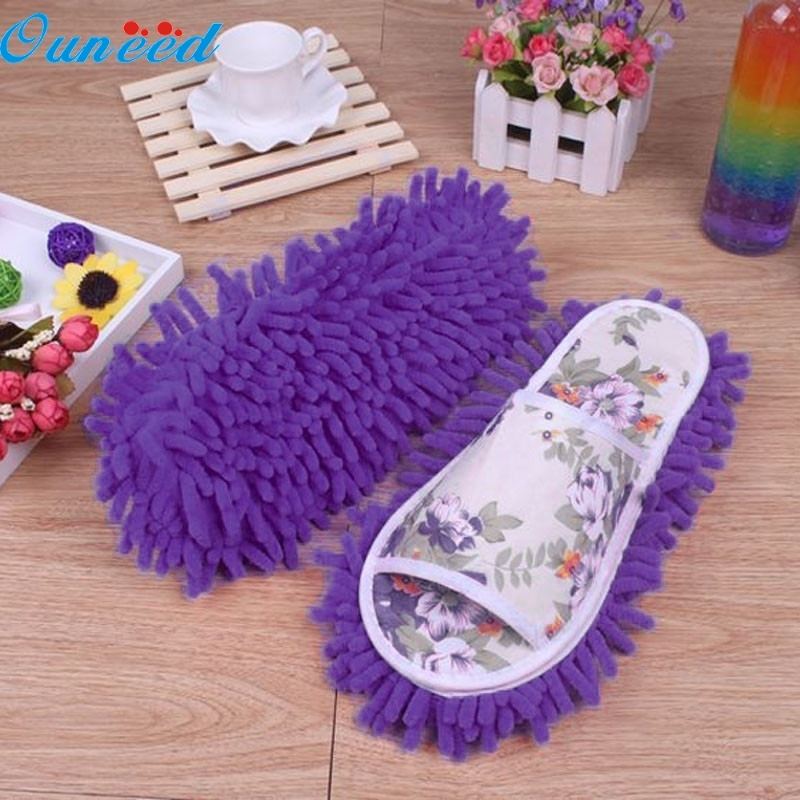 Ouneed Happy Gift Women Dust Mop Slippers Socks Microfiber House Slippers Bedroom Shoes 1 Pair woolen monster house shoes slippers color assorted pair