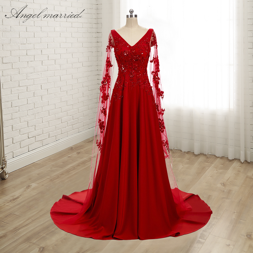 Angel Married Simple Red Evening Dresses Lace Aline Prom