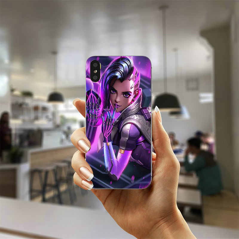 Сомбра герои Overwatchs мягкие ТПУ силиконовый мобильного телефона чехлы для iphone 4 4S 5 5S SE 5C 6 6 S 7 плюс 8 X крышка Капа Coque Shell