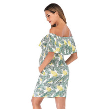 Mini Party Dresses New pint Short Sleeve One Word Collar Tighten Waist Summer Dress Women Print Strapless MM613