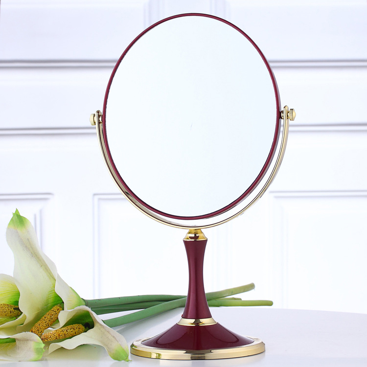 LS Ordinary Red Double Sided Make Up Cosmetic Oval Mirror Shaving Bath Table On Stand