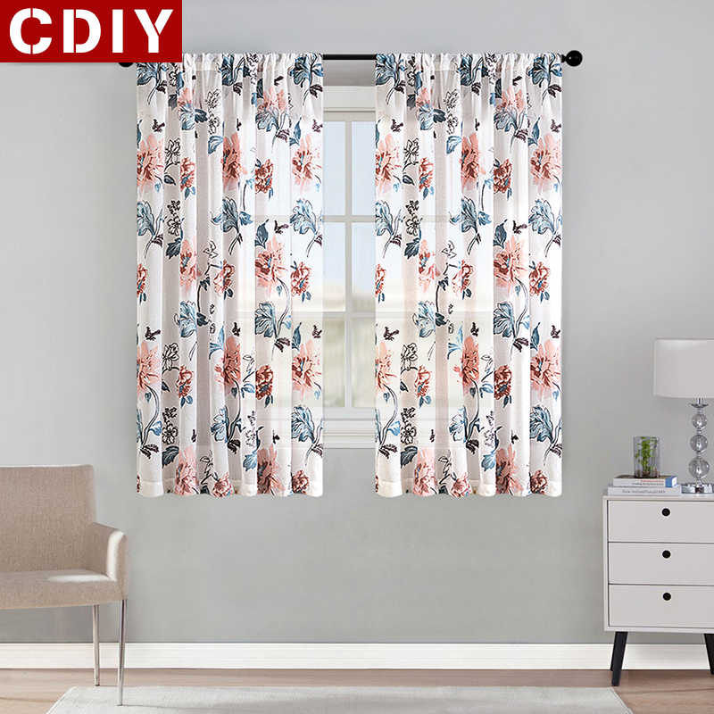 CDIY Floral Short Curtains For Kitchen Voile Curtains For Living Room Modern Bedroom Sheer Curtains Window Screening Drapes Door
