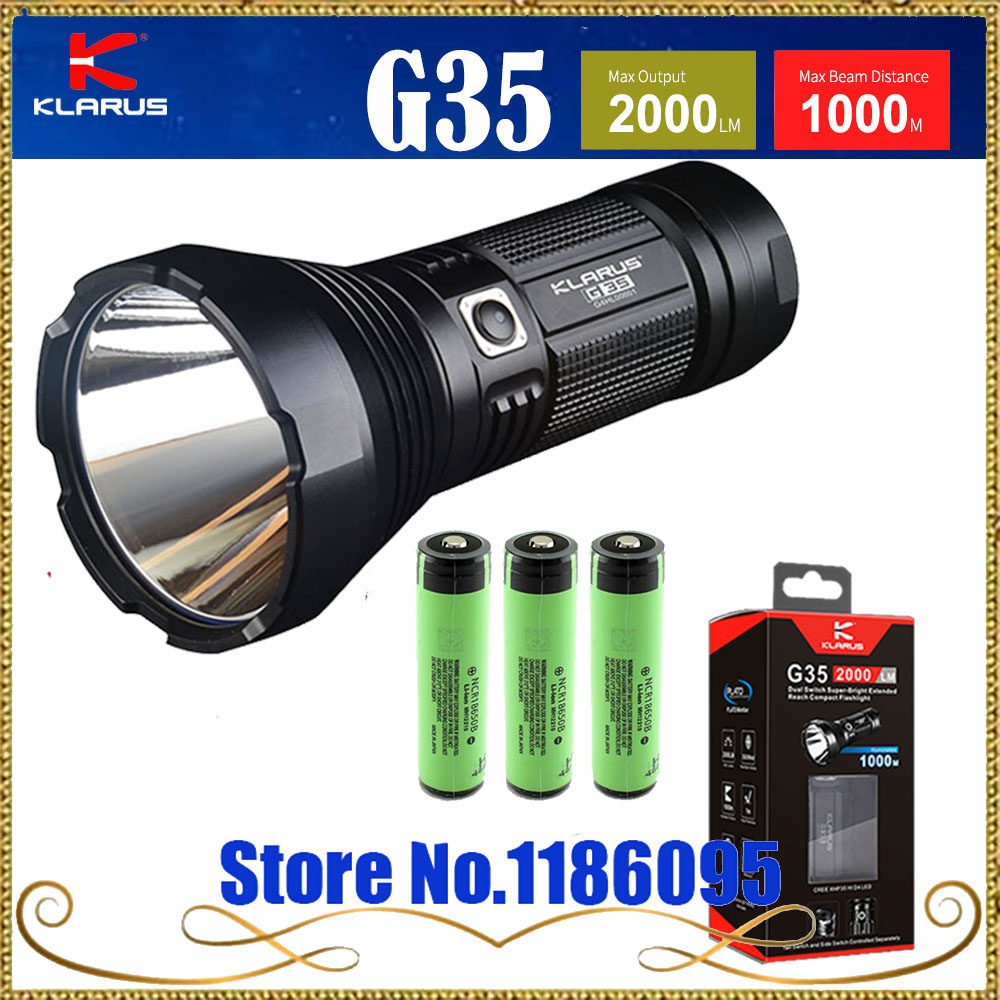 KLARUS G35 flashlight CREE XHP35 HI D4 LED 2000LM Max beam distance 1000M have gift for 3pcs 18650 3400mah battery new klarus xt11gt cree xhp35 hi d4 led 2000 lm 4 mode tactical led flashlight free usb port and 18650 battey for self defence