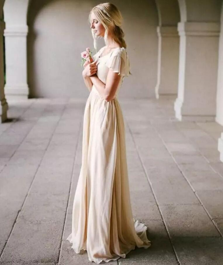 Champagne Vintage Wedding Dresses: Modest Wedding Dress With Flutter Sleeve Scoop Neck A Line