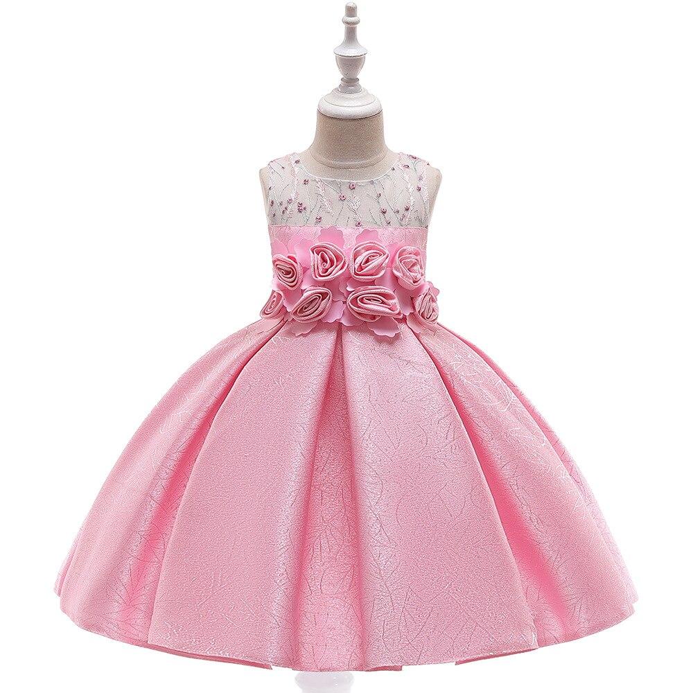 2019 New First Communion   Dress   For   Girls   Satin Flowered A-Line   Flower     Girls     Dresses   for Weddings Evening