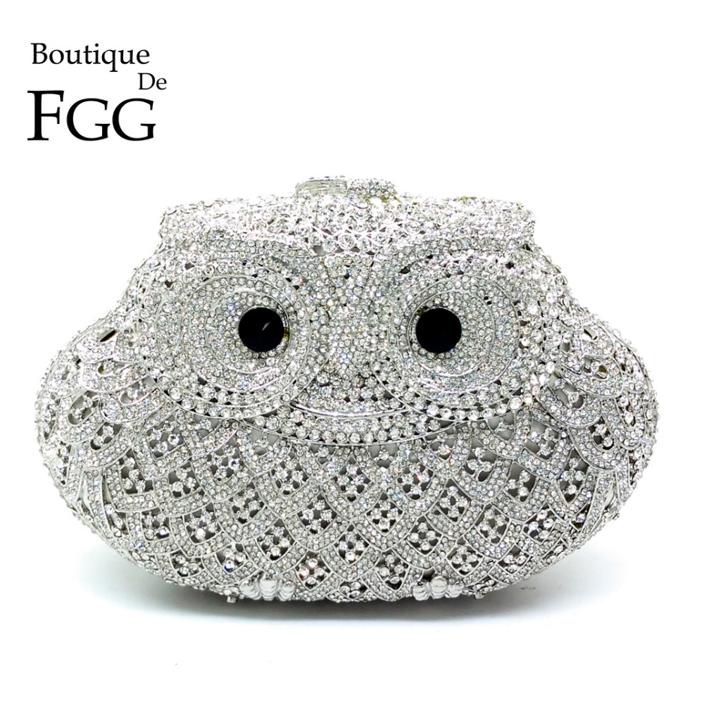 Boutique De FGG Sparkling Bling Silver Owl Minaudiere Clutch Women Small Crystal Evening Handbags Wedding Party Cocktail Bag
