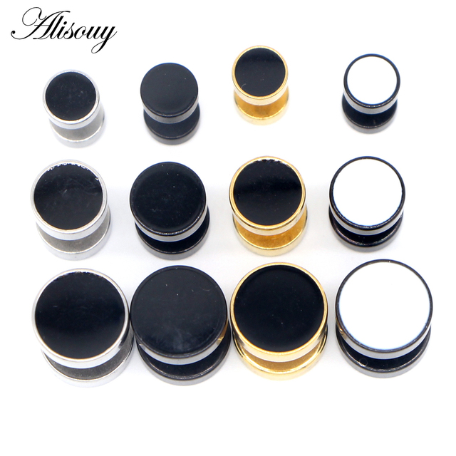 Alisouy 2pcs Drip Oil Round Barbell Body Piercing Jewelry Fake Ear Plug Tunnels Stainless Steel Earring.jpg 640x640 - Alisouy 2pcs Drip Oil Round Barbell Body Piercing Jewelry Fake Ear Plug Tunnels Stainless Steel Earring Studs Girl Boy Earrings