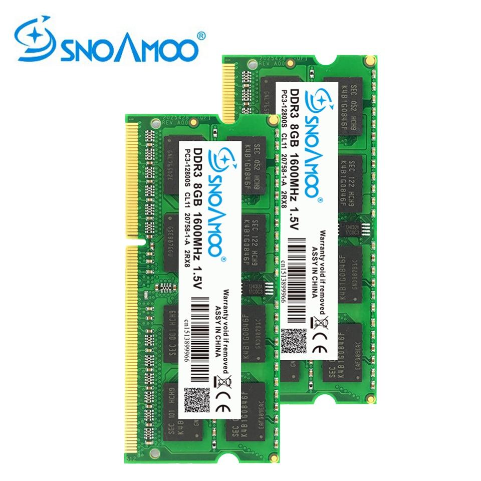 SNOAMOO DDR3 8 GB 1333/1600 MHz memoria Ram Portable Mémoire PC3-10600S 204 Broches 1.5 V 2Rx8 SO-DIMM Ordinateur Mémoire Garantie