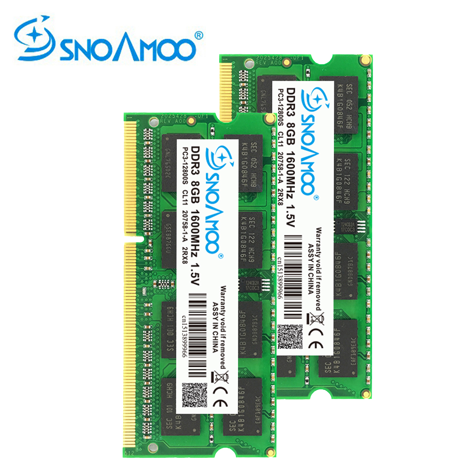 SNOAMOO DDR3 8 GB 1333/1600 MHz memoria Ram Portable Mémoire PC3-10600S 204 Broches 1.5 V 2Rx8 SO-DIMM Ordinateur Mémoire Garantie