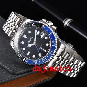 Image 2 - 40mm PARNIS שחור חיוג שחור/כחול bezel ספיר קריסטל תאריך GMT אוטומטי mens שעון מכאני שעונים