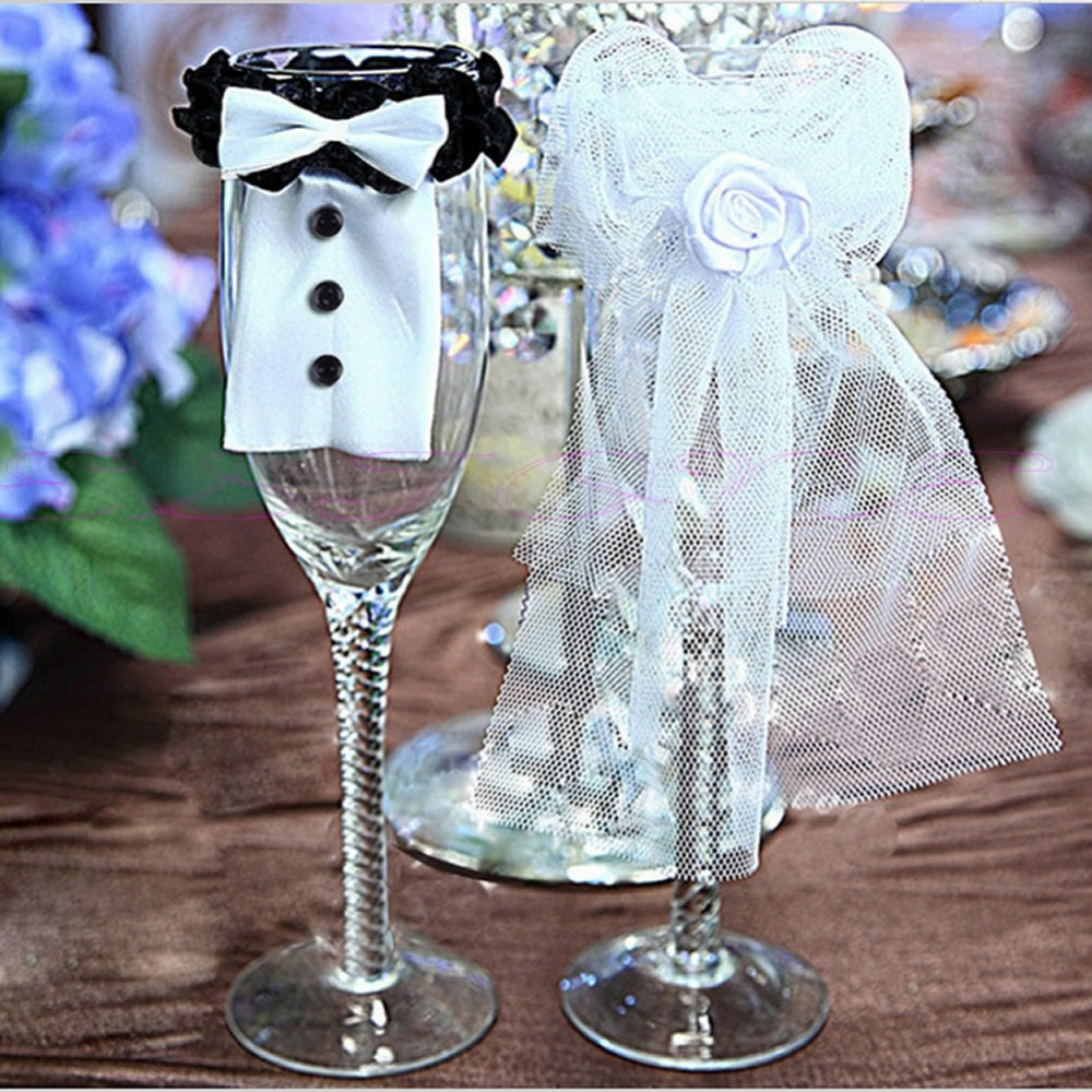Free Shipping 2 PCS Bride Groom Tux Bridal Veil Wedding Party Toasting Wine Glasses Decor In DIY Decorations From Home Garden On Aliexpress