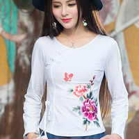Chinese Style Women O Neck Long Sleeve Tops Vintage Floral Embroidery T Shirt 2017 Spring Autumn
