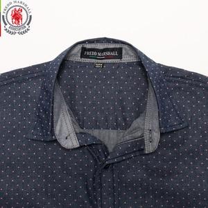 Image 4 - Fredd מרשל 2019 גברים מנוקדת ג ינס חולצה ארוך שרוול 100% כותנה באיכות גבוהה מזדמן חולצה זכר חברתי שמלת חולצות 3XL 120