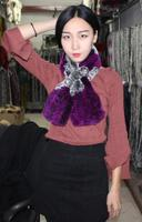 Hhzwfur無料ショッピング新しいリアル冬熱レックスウサギの毛の毛皮スカーフファッションスカーフ豆腐スタイル