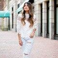 2015 Nueva Primavera Otoño Moda Mujeres Blusas de Manga Larga de Encaje Camisa Blanca Cuello alto Cordón de Las Mujeres Tops blusas femininas branca