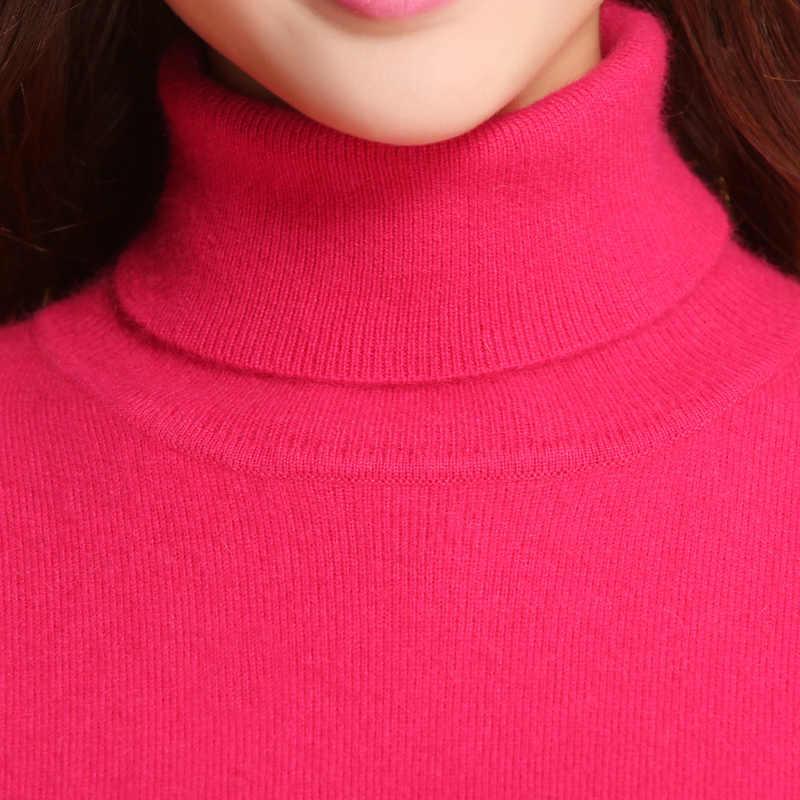 Sweater Wanita 100% Kasmir Rajutan Sweater Musim Dingin Turtleneck Sweater Hangat untuk Wanita Menarik Hot Sale Kasmir Pakaian Jumper