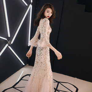 Image 3 - Champagne Evening Dress Gold Sequins Charming Formal Trumpet Party Gown V neck Flare Sleeve Long Black Mermaid Prom Dresses E063