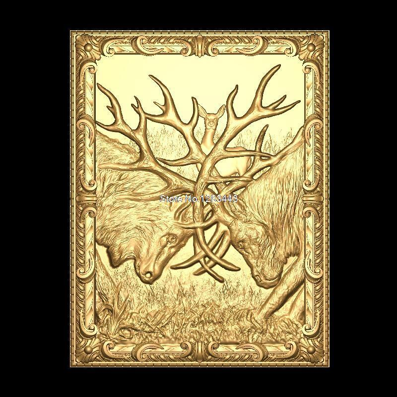 Deer-fight 3D Model STL relief for cnc STL format Furniture deer-fight 3D STL format furniture decoration 3d model relief for cnc in stl file format animals and birds 2