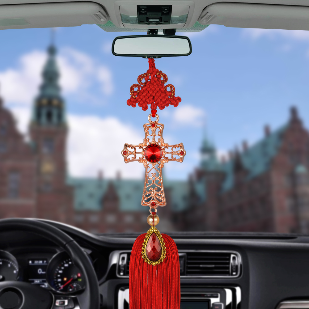 Car Pendant Christian Decoration Cross Hanging Ornament Crystal Alloy Crucifix Automobiles Rearview Mirror Suspension Decor car pendant lucky cat car rearview mirror decoration ceramics alloy hanging ornament automobile dashboard accessories gift 60cm