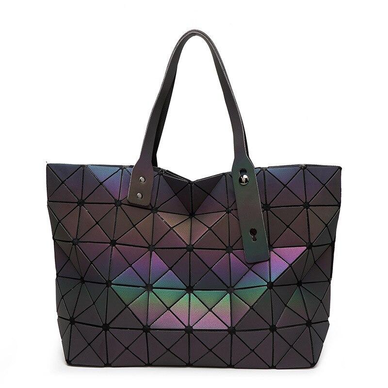 Новая сумка-мешок Для женщин светящиеся Sac Портфели сумка Diamond Tote геометрический стеганые сумки лазерной обычный складной Сумки bolso