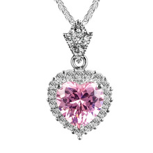 Everoyal Vintage Girls Crystal Pink Heart Necklace For Women Jewelry Fashion Lady Silver 925 Accessories Female Bijou