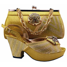 Neue Ankunft Afrikanische Frau High Heels Mit Handtasche Luxus Strass Schuhe Passenden Tasche Für Party GF47 Gelbe Farbe.