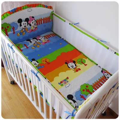 Promotion! 5PCS mickey mouse Baby Bedding Crib Set Bed Bumpers Animal Cotton Bedsheet ,include:(bumper+sheet)