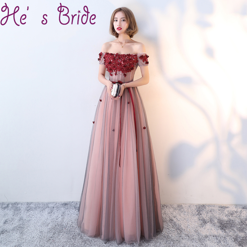 Evening Dress Elegant Wine Red Boat Neck Short Sleeves Lace Up Back A Line Floor Length Tulle Lace Crystal Party Prom Dress