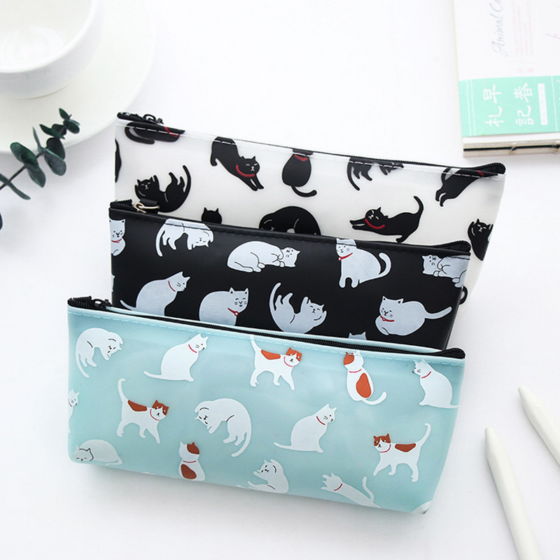 Cute Cat Animal Jelly Soft Pencil Case School Pencil Bag For Girl Stationery Estojo Escolar School Supplies
