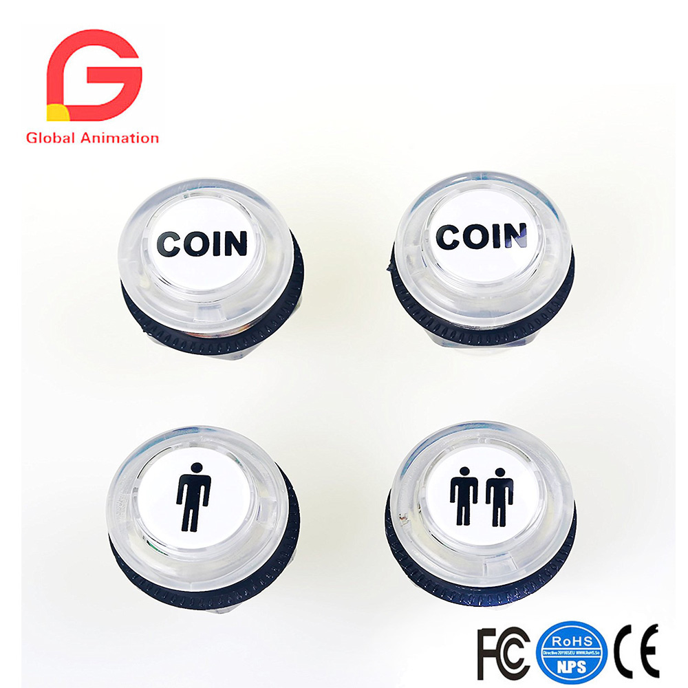 4 Pcs/Lot 5V LED Illuminated Push Button 1P/2P Player Start Buttons /2x Coin Buttons For MAME / JAMMA / Fighting Games / Arcade